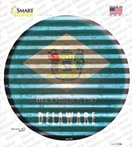 Delaware Flag Corrugated Wholesale Novelty Circle Sticker Decal