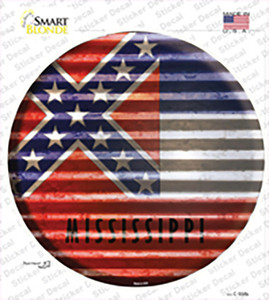 Mississippi Flag Corrugated Wholesale Novelty Circle Sticker Decal
