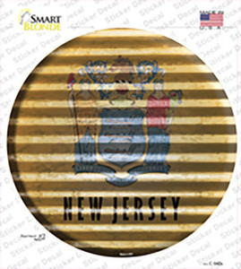 New Jersey Flag Corrugated Wholesale Novelty Circle Sticker Decal
