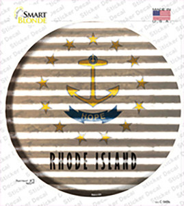 Rhode Island Flag Corrugated Wholesale Novelty Circle Sticker Decal