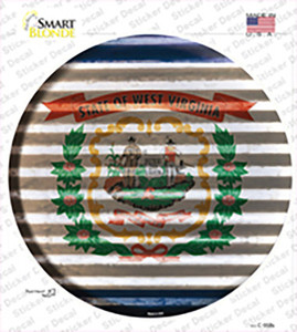 West Virginia Flag Corrugated Wholesale Novelty Circle Sticker Decal