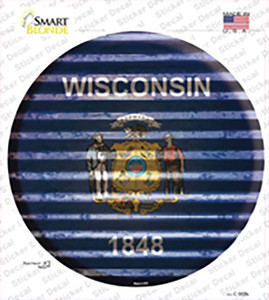 Wisconsin Flag Corrugated Wholesale Novelty Circle Sticker Decal