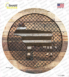 Cow on Wood Wholesale Novelty Circle Sticker Decal