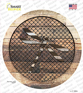 Dragonfly on Wood Wholesale Novelty Circle Sticker Decal