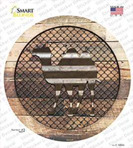 Camel on Wood Wholesale Novelty Circle Sticker Decal