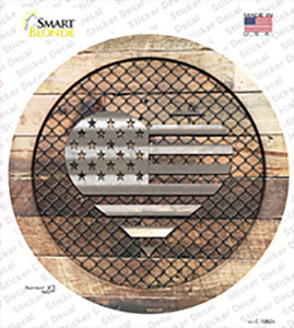American Flag Heart on Wood Wholesale Novelty Circle Sticker Decal