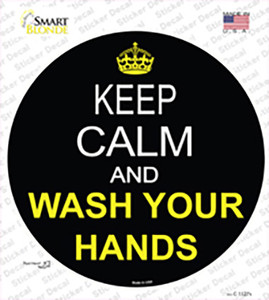 Keep Calm Wash Your Hands Wholesale Novelty Circle Sticker Decal