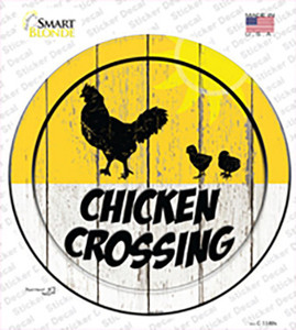 Chicken Crossing Wholesale Novelty Circle Sticker Decal