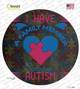 Family Member With Autism Wholesale Novelty Circle Sticker Decal