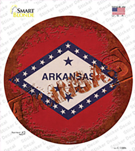 Arkansas Rusty Stamped Wholesale Novelty Circle Sticker Decal