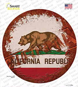 California Rusty Stamped Wholesale Novelty Circle Sticker Decal