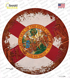 Florida Rusty Stamped Wholesale Novelty Circle Sticker Decal