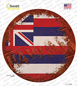 Hawaii Rusty Stamped Wholesale Novelty Circle Sticker Decal