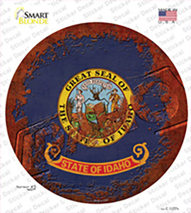Idaho Rusty Stamped Wholesale Novelty Circle Sticker Decal