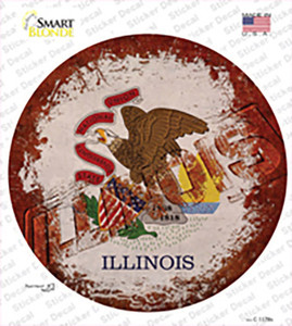 Illinois Rusty Stamped Wholesale Novelty Circle Sticker Decal