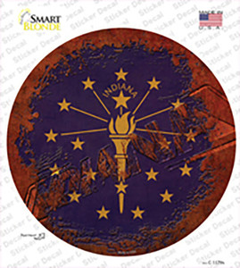 Indiana Rusty Stamped Wholesale Novelty Circle Sticker Decal
