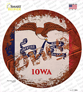 Iowa Rusty Stamped Wholesale Novelty Circle Sticker Decal