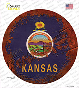 Kansas Rusty Stamped Wholesale Novelty Circle Sticker Decal