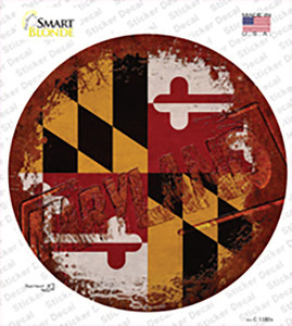 Maryland Rusty Stamped Wholesale Novelty Circle Sticker Decal