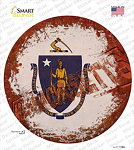 Massachusetts Rusty Stamped Wholesale Novelty Circle Sticker Decal