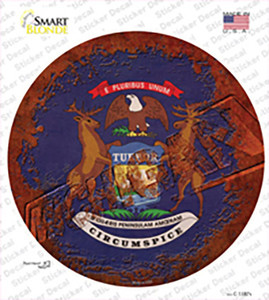 Michigan Rusty Stamped Wholesale Novelty Circle Sticker Decal