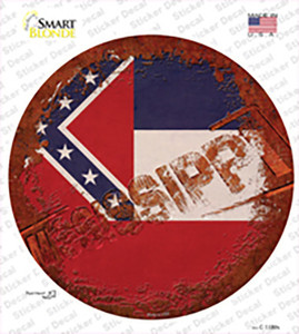 Mississippi Rusty Stamped Wholesale Novelty Circle Sticker Decal