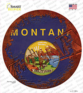 Montana Rusty Stamped Wholesale Novelty Circle Sticker Decal