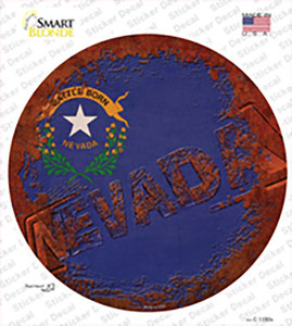 Nevada Rusty Stamped Wholesale Novelty Circle Sticker Decal
