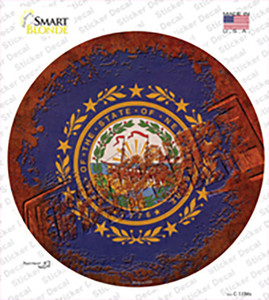 New Hampshire Rusty Stamped Wholesale Novelty Circle Sticker Decal