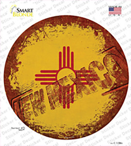 New Mexico Rusty Stamped Wholesale Novelty Circle Sticker Decal