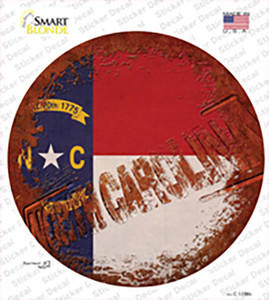 North Carolina Rusty Stamped Wholesale Novelty Circle Sticker Decal