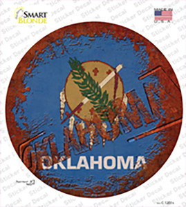 Oklahoma Rusty Stamped Wholesale Novelty Circle Sticker Decal