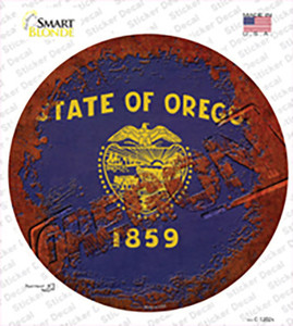 Oregon Rusty Stamped Wholesale Novelty Circle Sticker Decal