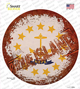 Rhode Island Rusty Stamped Wholesale Novelty Circle Sticker Decal
