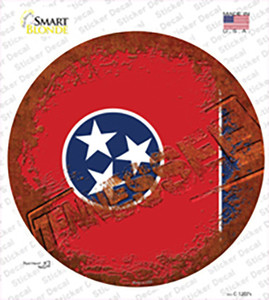 Tennessee Rusty Stamped Wholesale Novelty Circle Sticker Decal