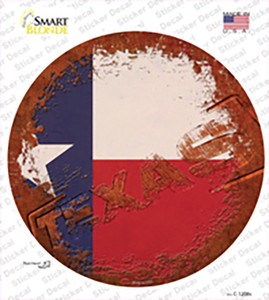 Texas Rusty Stamped Wholesale Novelty Circle Sticker Decal