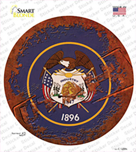Utah Rusty Stamped Wholesale Novelty Circle Sticker Decal