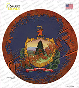 Vermont Rusty Stamped Wholesale Novelty Circle Sticker Decal
