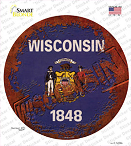 Wisconsin Rusty Stamped Wholesale Novelty Circle Sticker Decal