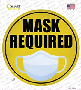 Mask Required Wholesale Novelty Circle Sticker Decal