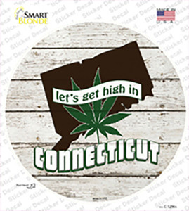 Lets Get High In Connecticut Wholesale Novelty Circle Sticker Decal