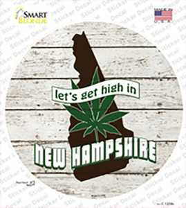 Lets Get High In New Hampshire Wholesale Novelty Circle Sticker Decal