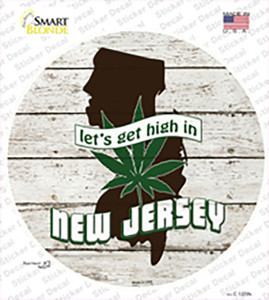 Lets Get High In New Jersey Wholesale Novelty Circle Sticker Decal