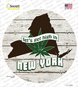 Lets Get High In New York Wholesale Novelty Circle Sticker Decal