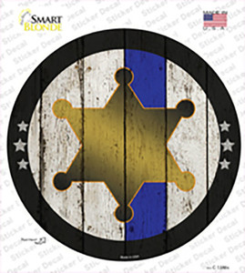 Sheriff Star Blue Line Wholesale Novelty Circle Sticker Decal
