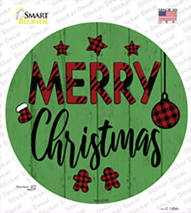 Merry Christmas Plaid Green Wholesale Novelty Circle Sticker Decal