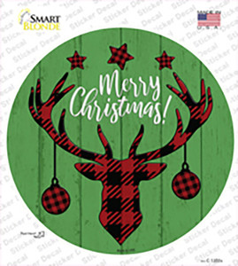Merry Christmas Reindeer Wholesale Novelty Circle Sticker Decal