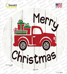 Merry Christmas Present Truck Wholesale Novelty Circle Sticker Decal