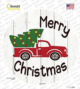 Merry Christmas Tree Truck Wholesale Novelty Circle Sticker Decal