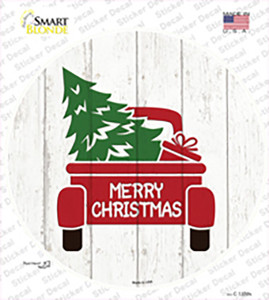 Christmas Tree In Truck Bed Wholesale Novelty Circle Sticker Decal